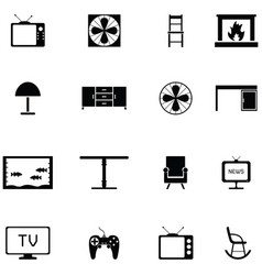 Living room icon set vector