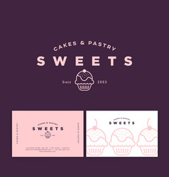 Logo cake pastry sweets business card vector