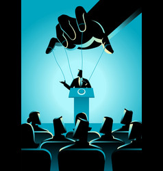 man on podium being controlled puppet master vector image