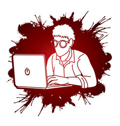 Man works on his laptop cartoon graphic vector
