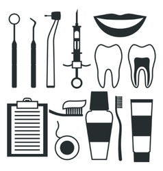 Medical dental equipment icons set in flat style vector