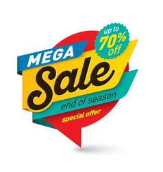 Mega sale banner template special offer end of vector