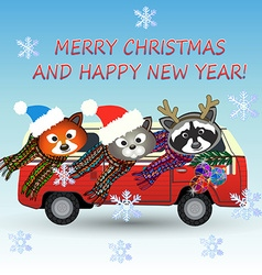 Merry christmas animals vector image