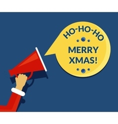 Merry xmas speech bubble from megaphone vector image