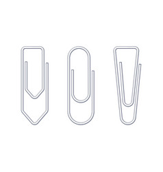 metallic wire paper clips various shapes set vector image