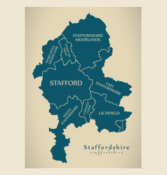 Modern map - staffordshire county with district vector