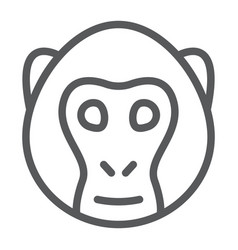 monkey line icon animal and zoo vector image
