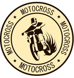 Motorcycle racer sport label vector