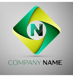 N letter colorful logo in the rhombus template for vector