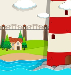 Nature scene with lightwave and house by the beach vector