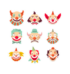 Nine colorful emotional clown portraits isolated vector