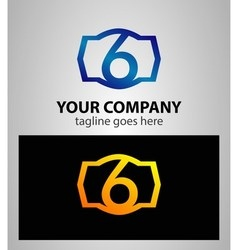 Number 6 logo logotype design vector image