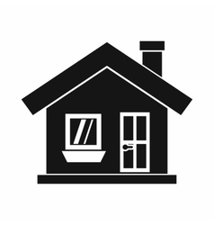 One-storey house with a chimney icon simple style vector
