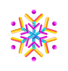 oval strips geometric snowflake icon trendy vector image
