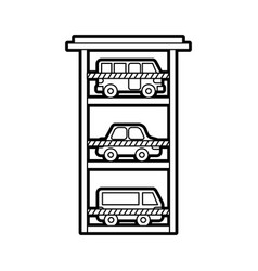 Parking building car bus van vehicle comercial vector