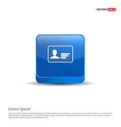 personal id card icon - 3d blue button vector image