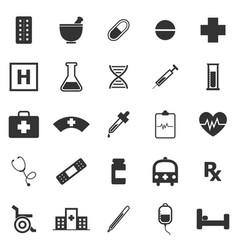 Pharmacy icons on white background vector