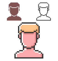 pixel icon male user picture in three variants vector image