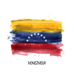 realistic watercolor painting flag of venezuela vector image