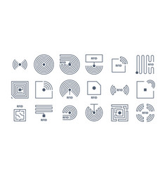 rfid icons radio tagging chips identification vector image
