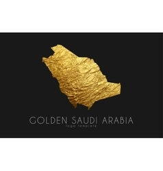 Saudi arab map Golden Saudi Arab logo Creative vector
