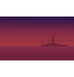 Scenery seaside at night of silhouette vector image