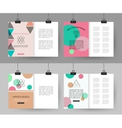 set colorful vintage cards with hipster vector image