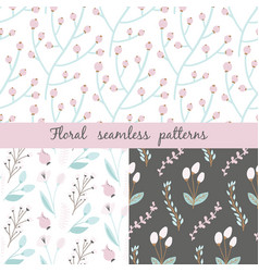 set floral seamless pattern seamless pattern vector image