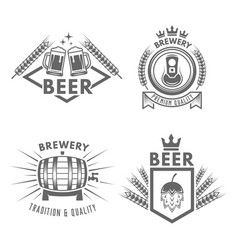 set of beer and brewery isolated labels vector image
