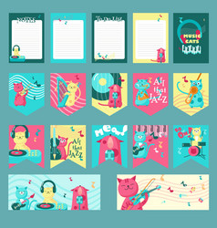 set of cards with music cats and vector image