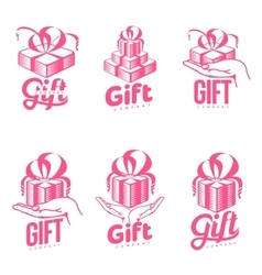 Set of pink and white graphic gift box logo vector image