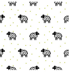 Sheep black and white cartoon pixel art seamless vector