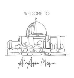 Single continuous line drawing al aqsa mosque vector