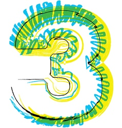 Sketch font Number 3 vector image
