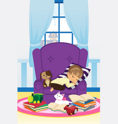 sleeping boy with books vector image