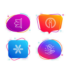Snowflake info and sign out icons set loan vector