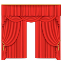 Stage theater or movie curtain red vector