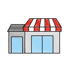 Store grocery shop building exterior facade vector