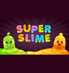 super slime banner background with funny vector image