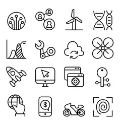 technology icon set in thin line style vector image