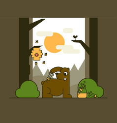 The bear in the forest vector