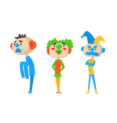 Three clowns harlequins with different emotions vector
