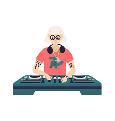 Trendy disc jockey play electronic dance music on vector