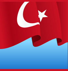 Turkish flag wavy abstract background vector