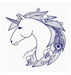 Unicorn on squared paper vector image