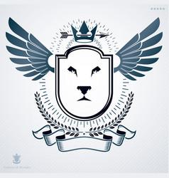 Vintage emblem made in heraldic design and vector