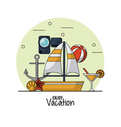 White background of enjoy vacation with sailboat vector