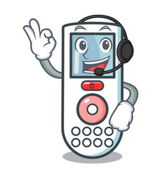 with headphone remote control mascot cartoon vector image