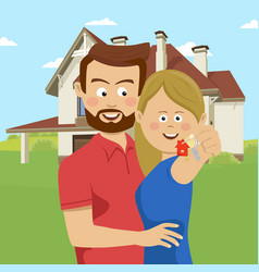 Young couple holding keys of their new house vector
