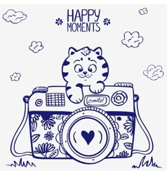 camera kitten vector image vector image